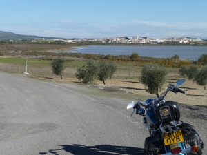 Looking across the Laguna de Fuente de Piedra at the town which shares its name.